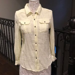 NWT We The Free Yellow Button Up Top M